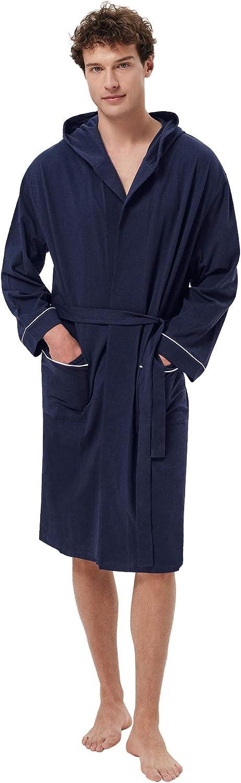 Special Campaign SIORO Luxury Men's Cotton Robe Lightweight Soft Length Kimono Bat Knee