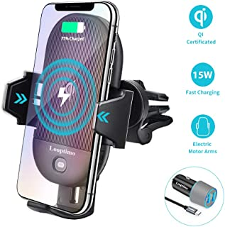 Looptimo Wireless Car Charger Mount Auto Clamping, Compatible for iPhone 11 Pro/11/XS/XR/X/8, Samsung Galaxy S10 Plus/S10/S9+/S9/Note 10/9/8, 15W/10W/7.5W Qi Fast Charging Air Vent Car Phone Holder