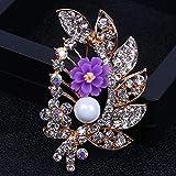 Zuiaidess Broches Alfileres para Mujer,Aleación Simple Flor Violeta Cristal Pins para Mujeres Moda...