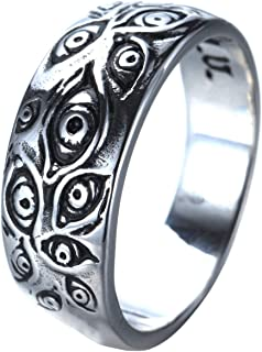 UNAPHYO Stainless Steel Evil Eye Ring Antique Silver Eye of God Band Vintage Cool for Men Women
