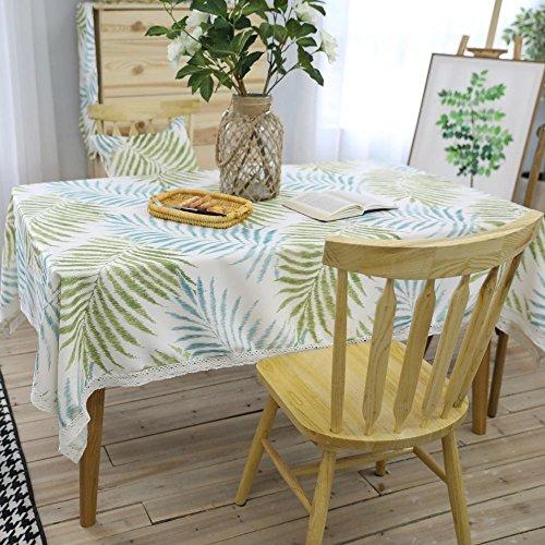 Longless tafelkleed tafelkleden salontafel doek kunst vers groen bladeren behang 140 * 200cm Groen