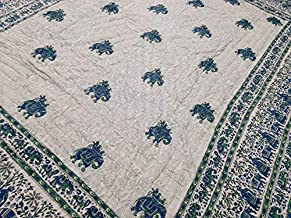 Ganesha Art And Craft Animal Print Quilt 90x108 Inches Blue Color Quilt Gift for Weddings Quilt for Room Decor