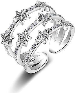Ogquaton Argento Elegante ed Elegante Donna Apertura Anello Regolabile in Metallo (Tre Stelle Argento)