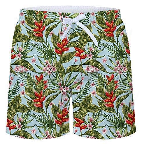 TUONROAD Badehose für Herren Lustige 3D Badeshorts Blumen 16-Inch Hawaiihose Kurz Sommer Schnelltrocknend Bermuda Shorts M