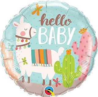 Qualatex Hello Baby Llama Round Foil Balloon, 18-inch Size