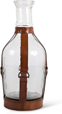K&K Interiors 15642A-4 13.75 Inch Glass Vase with Leather Straps and Metal Buckle Accent
