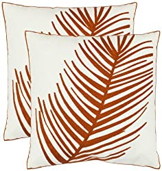Amazon Safavieh Pillow Collection 18-Inch Fern Leaf Pillow, White and Rust, Set of 2