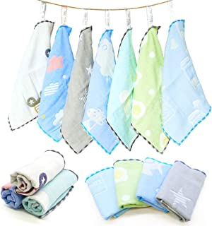 Baby Burp Cloths, Maveek 6 Layer Cotton Gauze Washcloths Handkerchief Scarf Saliva Wipes, Easy-Washing & Reusable Nursing Towel for Toddlers Boys(7 Colors)