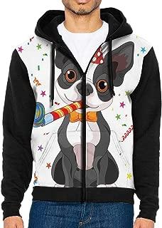 Men's Full-Zip Hoodie Sweatshirt Fun Boston Terrier Dog Sportswear Jackets with Pockets