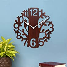 Sehaz Artworks Tree Bird Wood Wall Clock (25 cm x 25 cm x 2.8 cm, Brown) Best for Christmas Gift