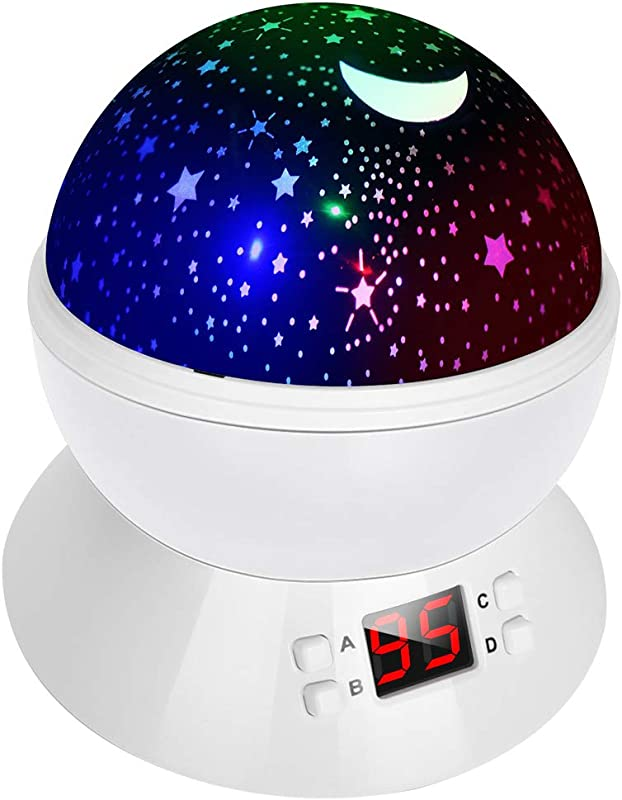 Star Projector Night Lights For Kids LBell Rotating Cosmos Star Sky Night Lamp With Timer Christmas Gift For Kids Girls Boys And Baby White