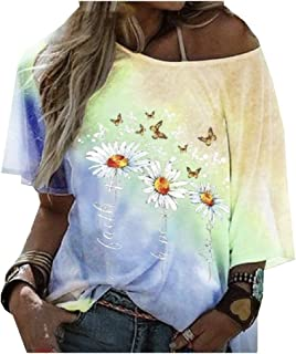 SportsX Women Floral Printed Blouse Summer Casual Weekend Short-Sleeve Tee Shirt