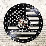 UIOLK Decoración Interior del Reloj de Pared del Reloj del Disco de Vinilo de la Bandera Americana