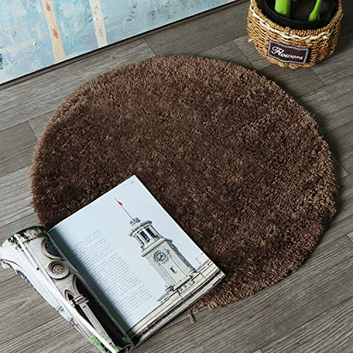 HAOCOO Round Bathroom Rugs, 2ft Non-Slip Luxury Bath Shower Mat Shaggy Area Rug,Water Absorbent, Machine-Washable, Soft Thick Plush Bath Floor Carpet for Living Room Bedroom, Brown