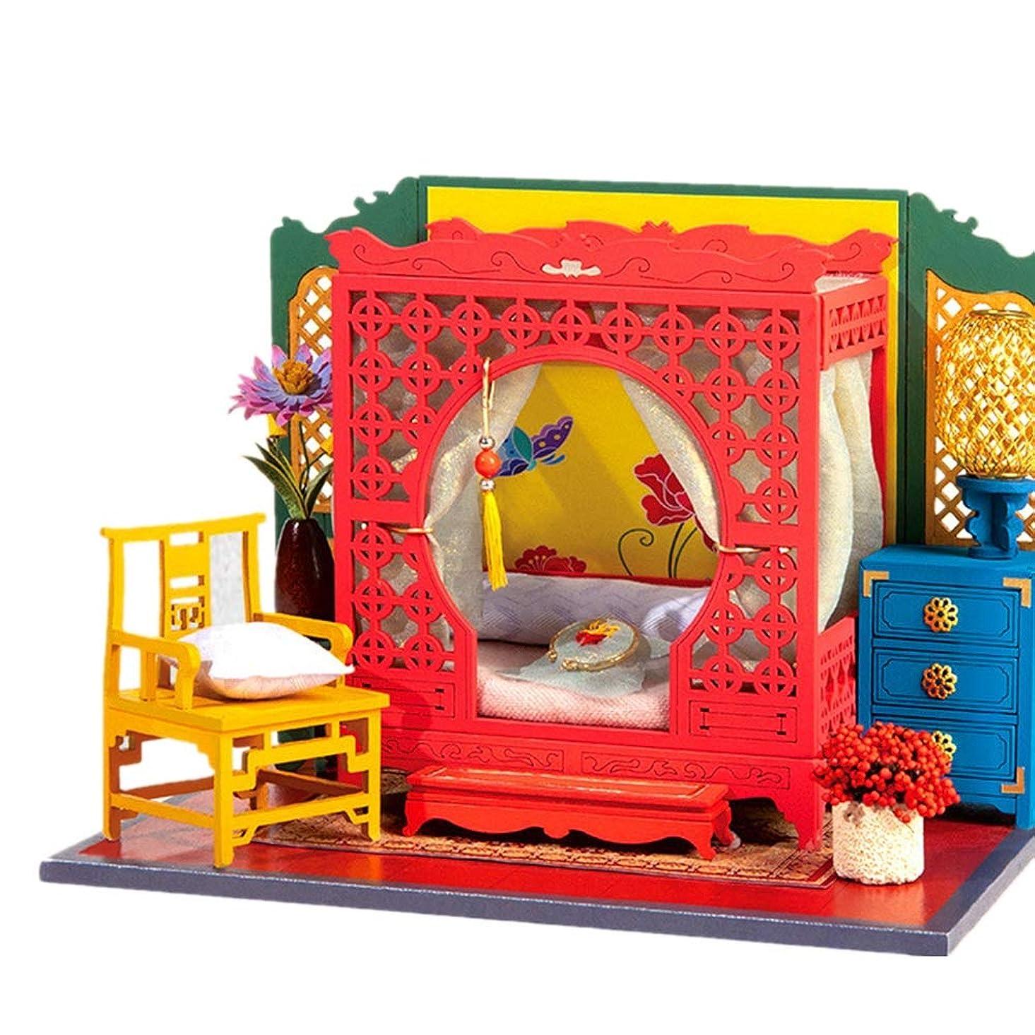 ショット船員ヘッジDIYドールハウス 家具とDIY木製ドールハウス手づくりのミニチュアキット3Dアンティークコテージモデル DIY 模型 (Color : As picture, Size : 17x13x13cm)