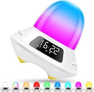 Réveil pour enfant avec double réveil, haut-parleur Bluetooth, lampe de nuit LED numérique avec 9 couleurs et plusieurs so...