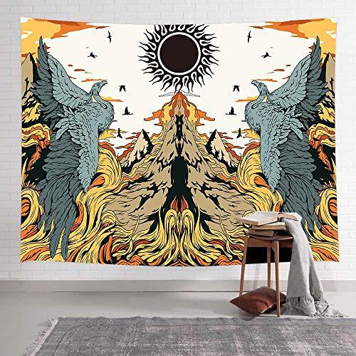 JXWR Hielo y Fuego dragón Tapiz Bosque búho Arte Tapiz Colgante de Pared Sala de Estar Dormitorio hogar Dormitorio decoración 100x150 cm