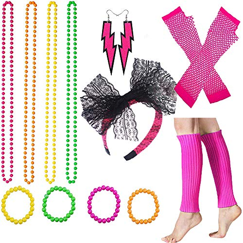 Women's 80s Fancy Dress Accessories Lace Headband Neon Earrings Fingerless Fishnet Gloves Necklace Bracelet Legwarmer for Fashion Retro 80s Party Outfit Costume Set Ladies and Girls (Pink6PCS)