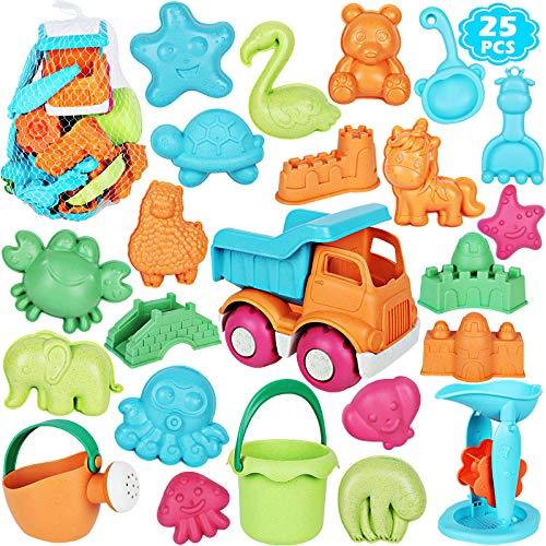 ARANEE Sandspielzeug Für Kinder, 25 Stück Strand Sandspielzeug mit Sand Förmchen, Fahrzeug, Gießkanne, Schaufel Werkzeugsätze, Netzbeutel, Wasser Spielzeug Set für Kinder ab 3 Jahre