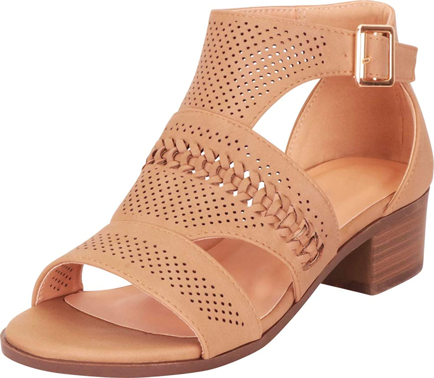 Cambridge Select Women's Open Toe Cutout Perforated Whipstitch Chunky Block Heel Ankle Bootie