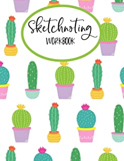 "Sketchnoting Workbook: Blank Pages With Templates for Sketchnotes, Mind Mapping, Visual Thinking, Doodling - Large 8.5"" x 11"" Gift With Soft Cover Cactus Design"