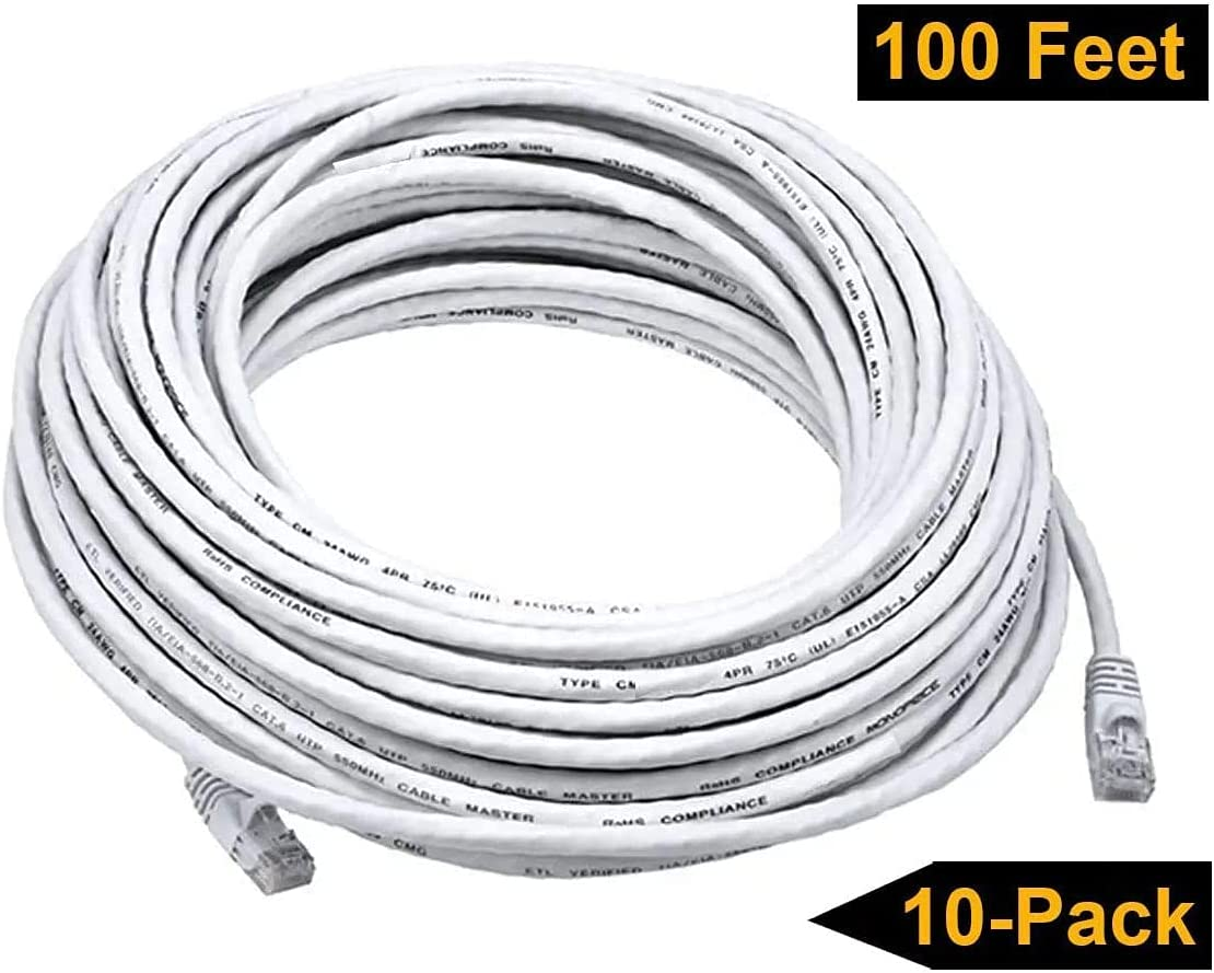 iMBAPrice 1' Cat5e Network Ethernet Patch Cable, 10 Pack, White (IMBA-CAT5-01WT-10PK)