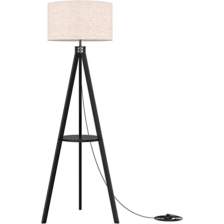 Brightech Jaxon Mid Century Modern Tripod Floor Lamp For Living Room Standing Light With Contemporary Drum Shade Matches Bedroom Decor Gets Compliments Tall Black Lamp With Led Bulb