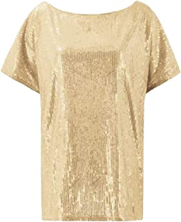 desolateness Womens Short Sleeve Sequins Solid Color Sexy Fashion Sequins Solid Color Shirt Casual Top