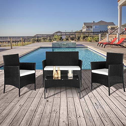 Gartenlounge Set, Rattan Sitzgruppe für 4 Personen Balkonmöbel Set mit Sitzkissen, Gartenmöbel-Set mit 2 Stück Einzelsofa, 1 Stück Doppelsofa und 1 Stück Tisch, Möbelsets für Hinterhof Nachmittagstee - 7
