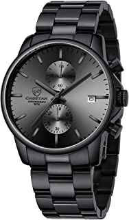 Men's Watches with Black/Silver Stainless Steel and Metal Casual Waterproof Chronograph Quartz...