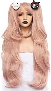Anogol Hair+2 Bears Light Pink Cosplay Wig Long Synthetic Wig For Girls Costume Party Costume Party Halloween Wig With Hair Accessory
