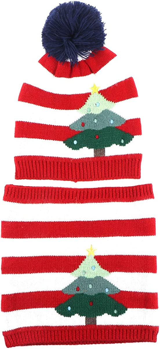 KESYOO Slouch Hat Soft Knitting Scarf and Hat Set Xmas Neck Scarf Winte