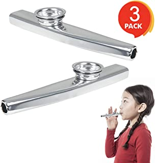 ArtCreativity 4.75 Inch Metal Kazoo - Set of 3 - Fun Humming Musical Instrument for Kids and Adults - Durable Music Toys - Cool Birthday Favors, Party Noisemakers Supplies, Goody Bag Fillers