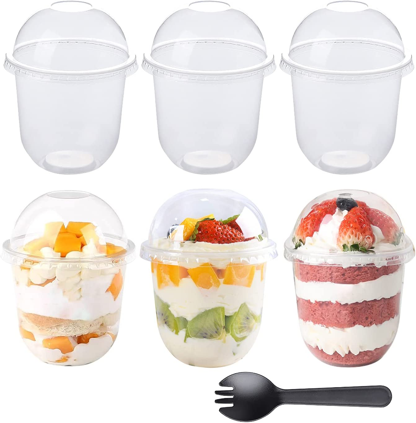 50Pcs 12oz Clear Plastic Cups with Dome Lids No Hole and 50Pcs Sporks, Disposable Dessert Party Cups for Ice Cream Cake Cold Drinks