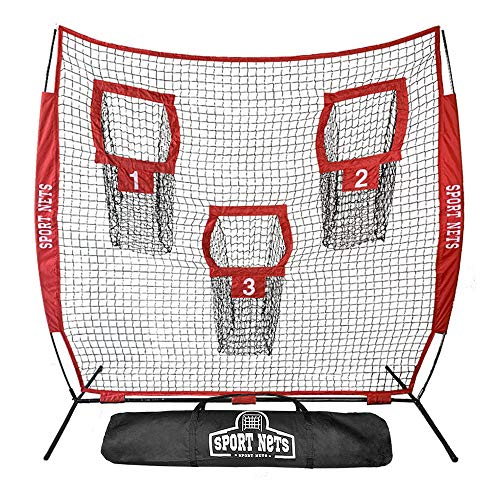 Hit Run Steal Heavy Duty Football Throwing Net | Great for Quarterback Training Throwing Target Practice. Each Portable Football Target net has 3 Targets and Comes with a Carry Bag. (7 X 7 Target Net)