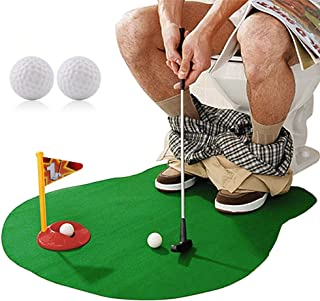 Toilet Golf ,Potty Golf Drinker Toilet Toy Potty Putter Putting Golfing Game Indoor Practice Mini Golf Set Golf Training Accessory for Men Women and Kids