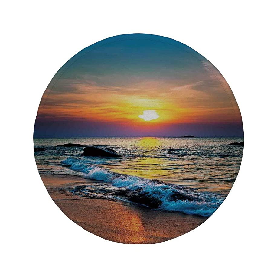 Non-Slip Rubber Round Mouse Pad,Tropical Decor,Colorful Last Sunbeams of The Day Over The Sea Waves Reflections Tropics Decorative,11.8