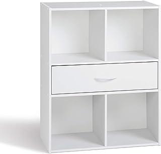 Alsapan Compo Meuble de Rangement 4 Casiers + 1 Tiroir Bibliothèque Etagères Cubes Blanc - 61,5 x 29,5 x 80 cm