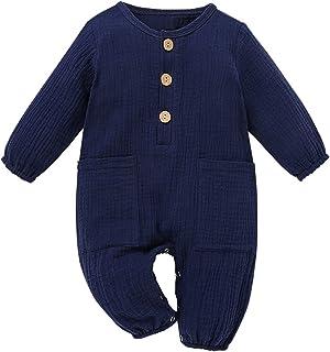 الوليد بيبي بوي فتاة القطن الكتان رومبير بذلة مع جيوب ملابس ملابس (Color : Blue, Size : 90)