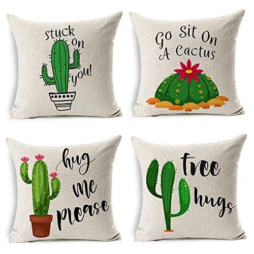 MIULEE Juego de 4 Lino Cojines Cactus Series Funda de Cojín Almohada Caso de Decorativo Cojines para Sala de Estar sofá Cama Coche 18'x18' Pulgadas 45x45cm
