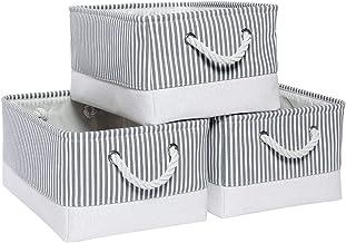 Mangata Boîtes de Rangement, paniers de Rangement en Toile, Organisateur de Placard, 36 * 26 * 18 CM, Paquet de 3 (Rayures...