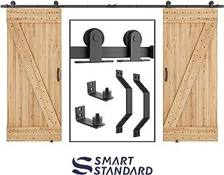 SMARTSTANDARD 12 FT Top Mount Double Sliding Barn Door Hardware Kit Whole Set, Include 2 Pull Handles & 2 Floor Guides, Fit 30