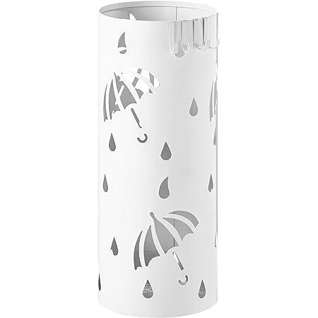 YSJ Metall Regenschirmhalter Runde Eisen Kunst Regenschirm Rack Mit Kunststoff Tropfschale und Haken f/ür Home Flur Veranda Eingang Schwarz Wei/ß