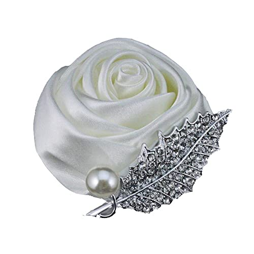 Pavian Wedding Groom Groomsmen Brooch Rose Boutonniere pin Suit Dress Accessories Ivory