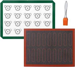 Feuille de tapis de cuisson en silicone 2 pièces - Doublures de plateau antidérapantes réutilisables, pâtisserie pour maca...