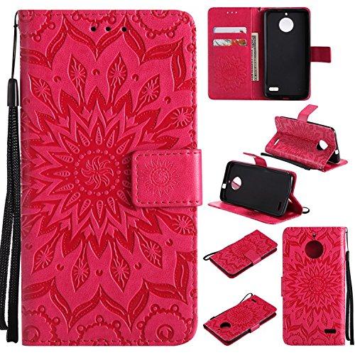 Guran® PU Leder Tasche Etui für Motorola Moto E4 Smartphone Flip Cover Stand Hülle & Karte Slot Hülle-rote