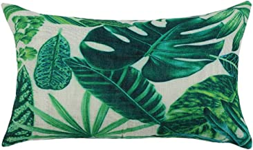 PICCOCASA Green Leaves Throw Pillow Cover,Pattern Cushion Cover Cotton Plant Pillow Case Square Pillow Protectors Home Decorative for Sofa/Couch/Bed/Car(12 x 20 Inch/30 x 50cm, 3)