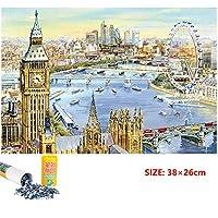 古典的な有名な絵の紙のパズル- 大人1000ピースミニパズルブルーカードペーパー観覧車風景油絵減圧パズルおもちゃ(38×26cm)