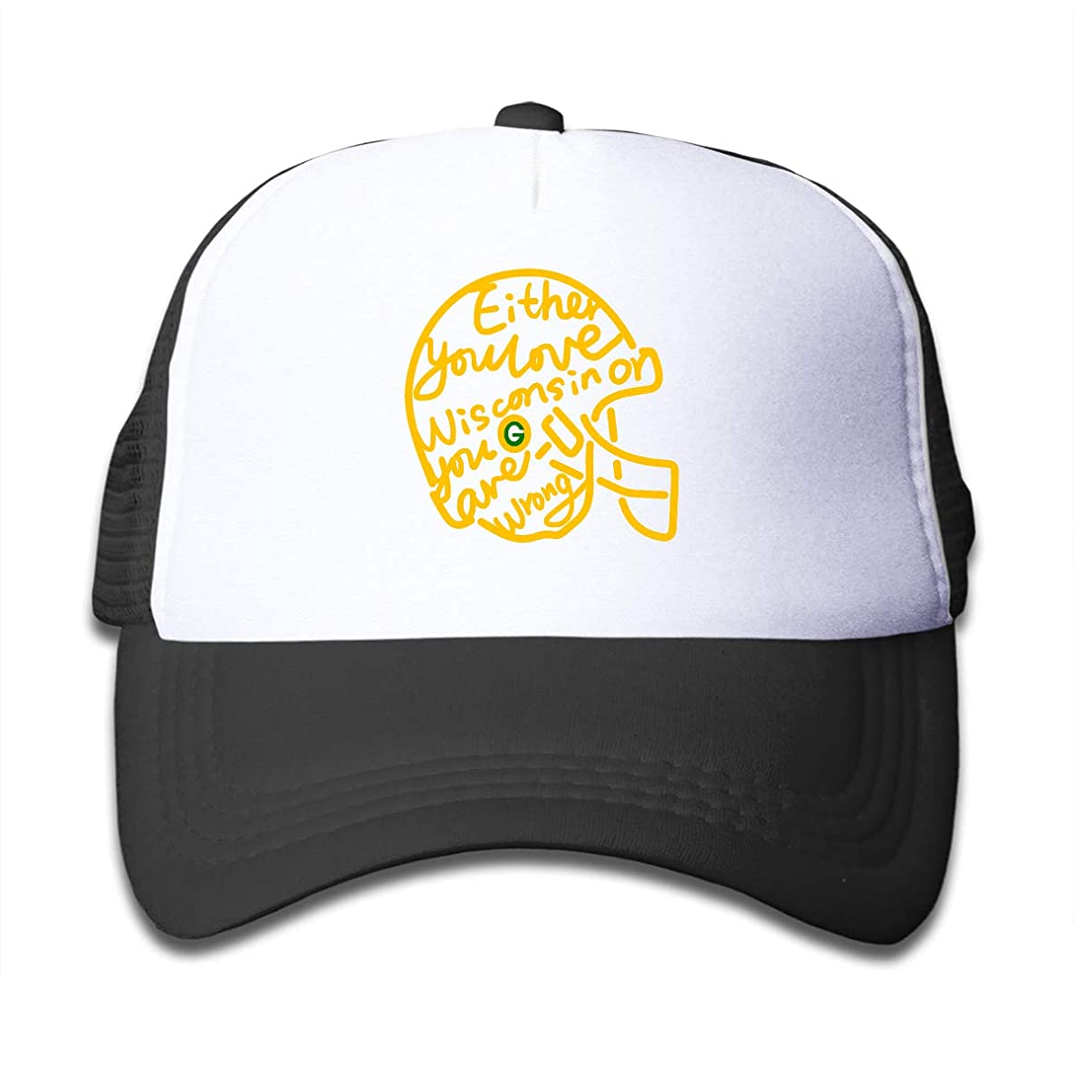 Either You Love Wisconsin or You are Wrong Children's Sun Protection,Summer Adjustable Mesh Hat Cap Black
