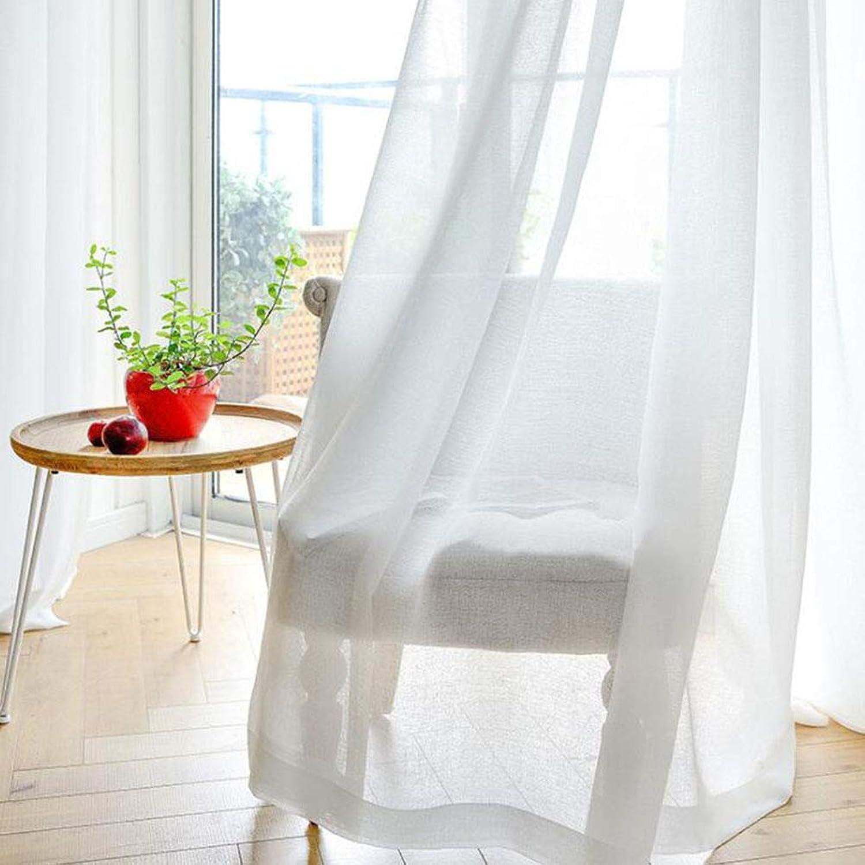 alta calidad YK CURTAIN Cortina Cortina Cortina para Ventana Translúcidas Visillos Paneles para Habitaciones Gasa de Ojetes, 2 Pieza blancoo,140  200cm  lo último
